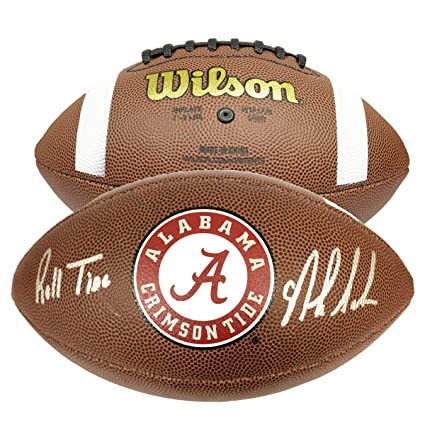 dddc1759 Nick Saban Autographed Signed NCAA Wilson Logo Football with Roll ...