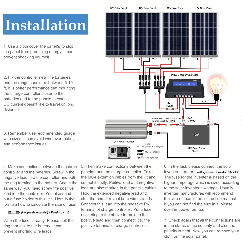 Groovy Amazon Com Komaes 400 Watts 12Volts Polycrystalline Solar Panel Wiring Digital Resources Funapmognl