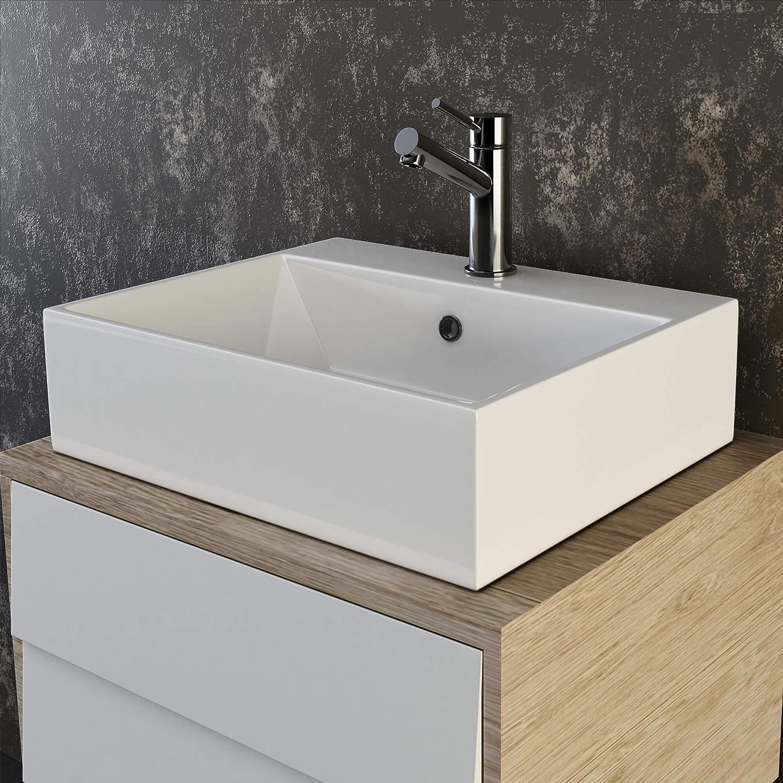 Waschbecken rechteckig  VILSTEIN© Keramik Waschbecken Hängewaschbecken Aufsatzwaschbecken ...