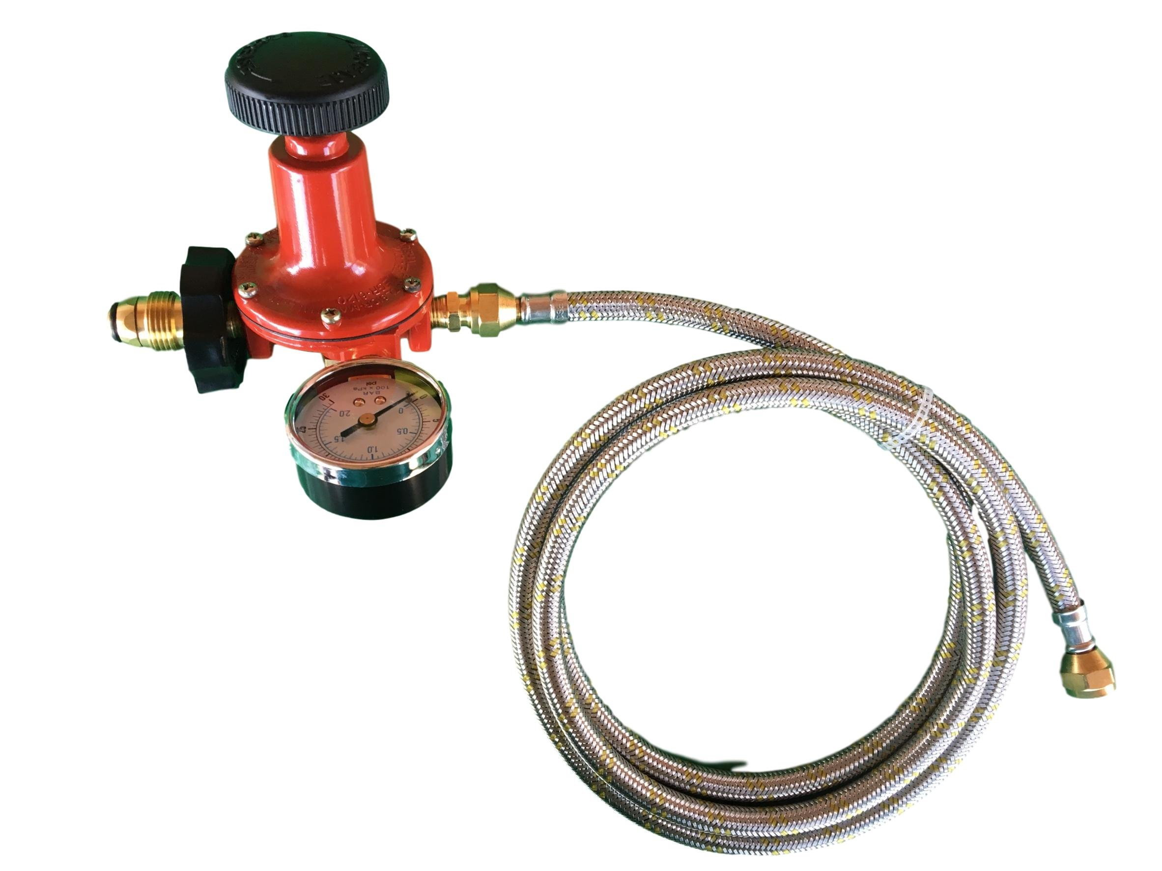 Propane LP Gas Adjustable 0-30psi High Pressure Regulator Soft POL Connector, Gauge and 5ft Stainless Steel Braided Hose