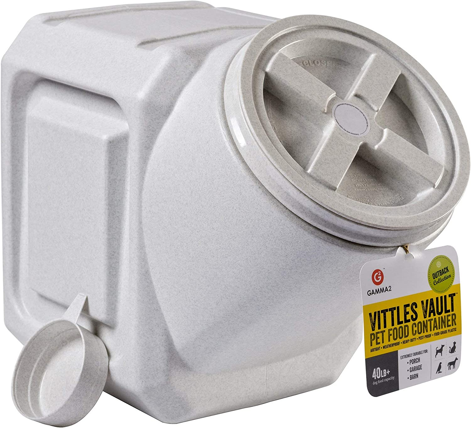 Vittles Vault Outback Stackable 40 lb Airtight Pet Food Storage Container. Premium Pack