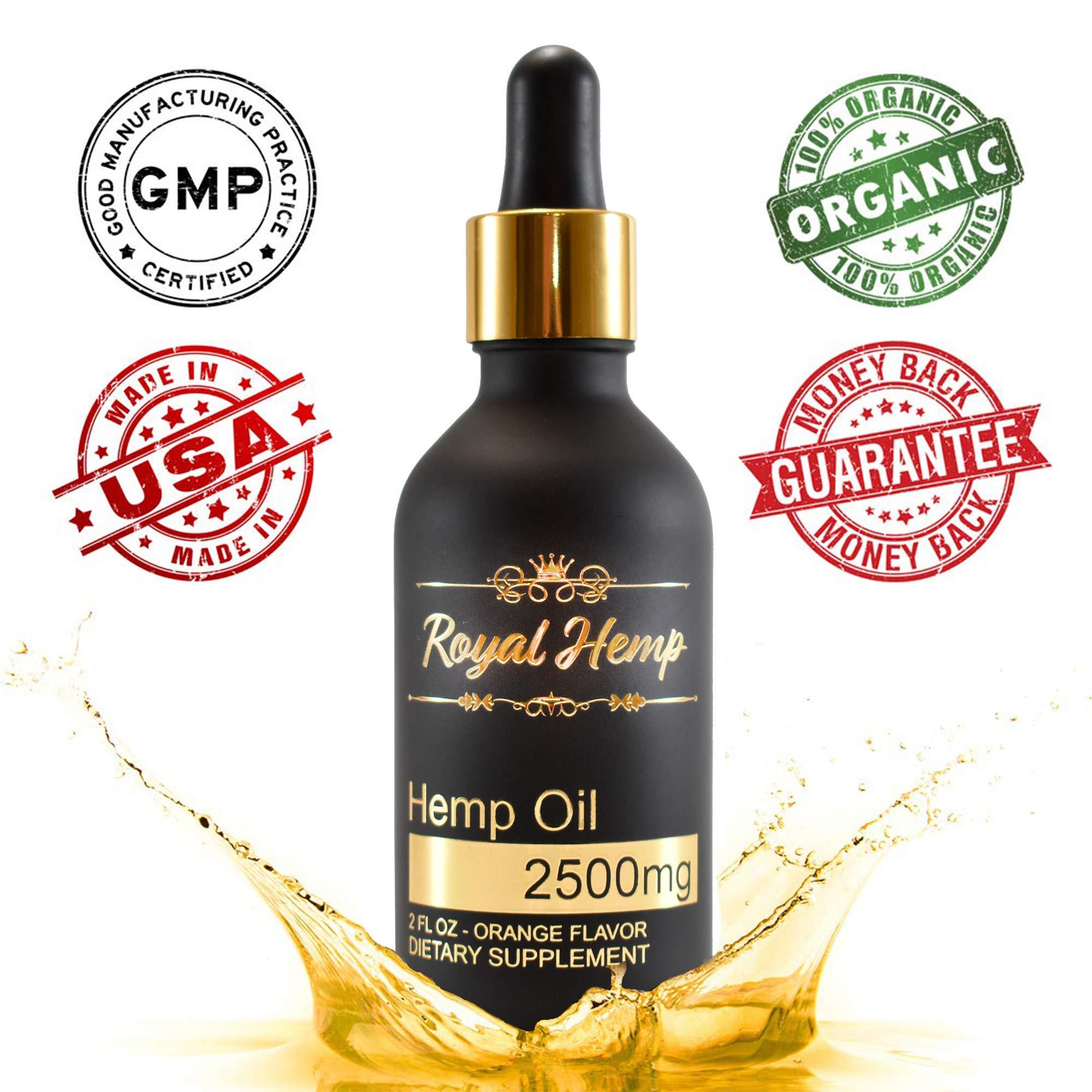 Royal Hemp - Hemp Oil for Pain & Anxiety Relief - 2500mg - Organic Hemp Drops - Natural Hemp Oils for Better Sleep, Mood & Stress - Pure Hemp Extract - Orange Flavor