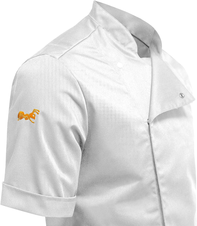 Ristorante Fatto in UE PIZZAIOLO ristorazione Pizzeria Giacca Casacca da Cuoco Chef Bicchierino-Manicotto Nero S-XXL strongAnt