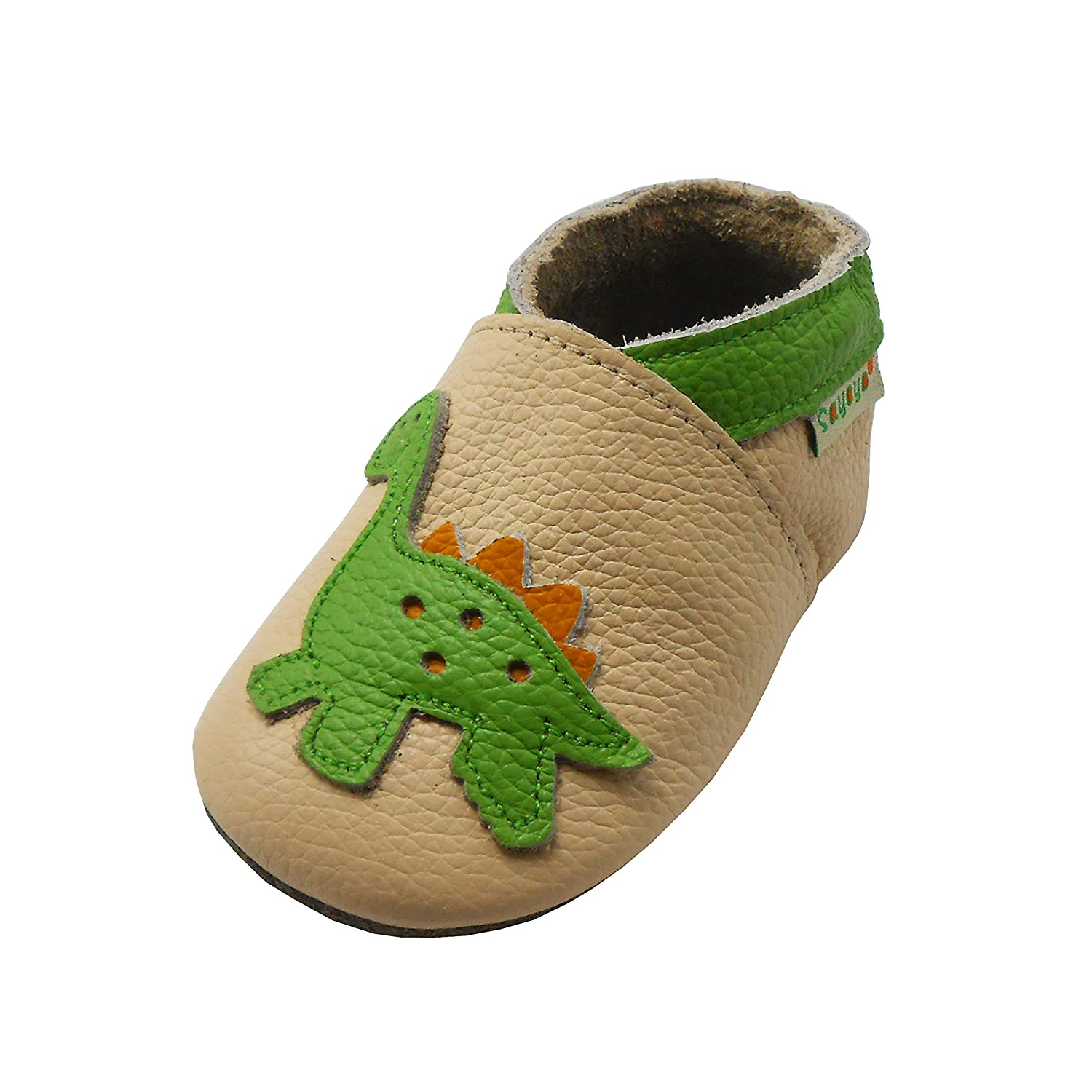 Sayoyo Baby Dinosaurs Soft Sole Beige Leather Infant and Toddler Shoes 1062