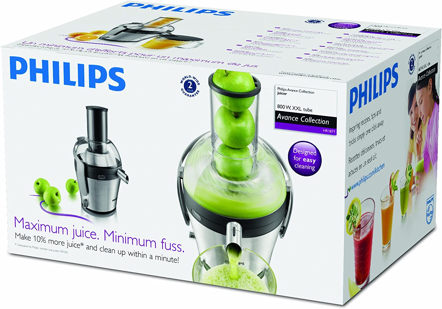 Philips Avance Collection Licuadora HR1871/00 - Exprimidor (Negro ...