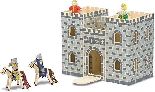 Melissa & Doug Fold and Go Wooden Castle Dollhouse with  Wooden Dolls and Horses (12 pcs)^Melissa & Doug Fold and Go Wooden Castle Dollhouse with Wooden Dolls and Horses (12 pcs)