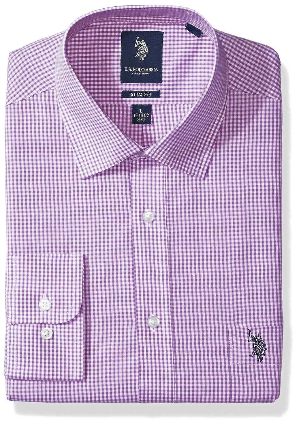 U.S. Polo Assn. Hombre Camisa de Vestir - Morado - 46 cm- 47 cm ...
