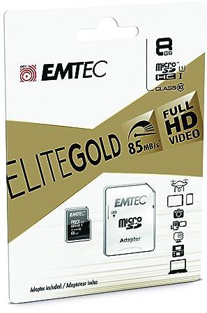 Emtec 8GB microSD - Tarjeta De Memoria Micro Sdhc Clase 10 De 8 GB + Adaptador