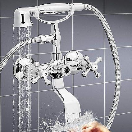 Polished Clawfoot Bathtub Tub Faucet with Shower Head Spray Wall ...