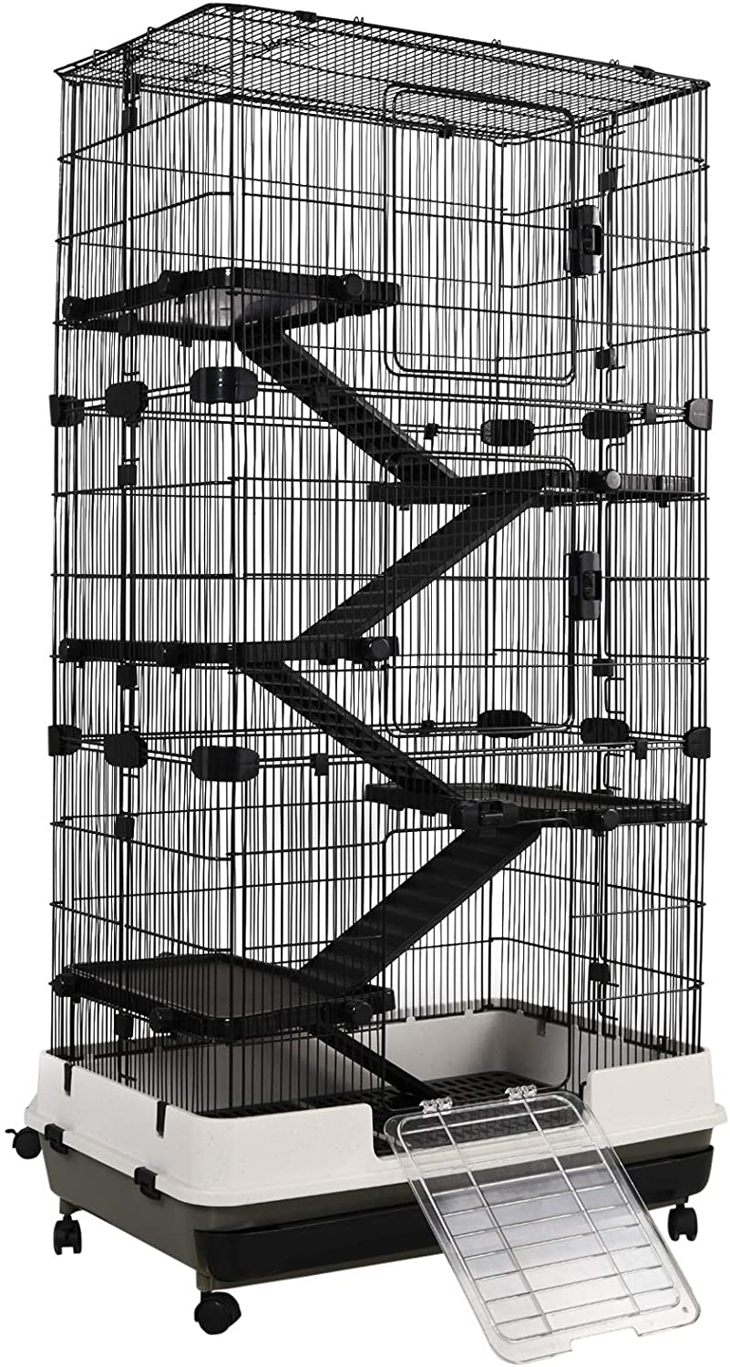 PawHut 2/4/6 Levels Rolling Small Animal Rabbit Cage for Hamsters, Chinchillas, & Gerbils with a Large Living Space