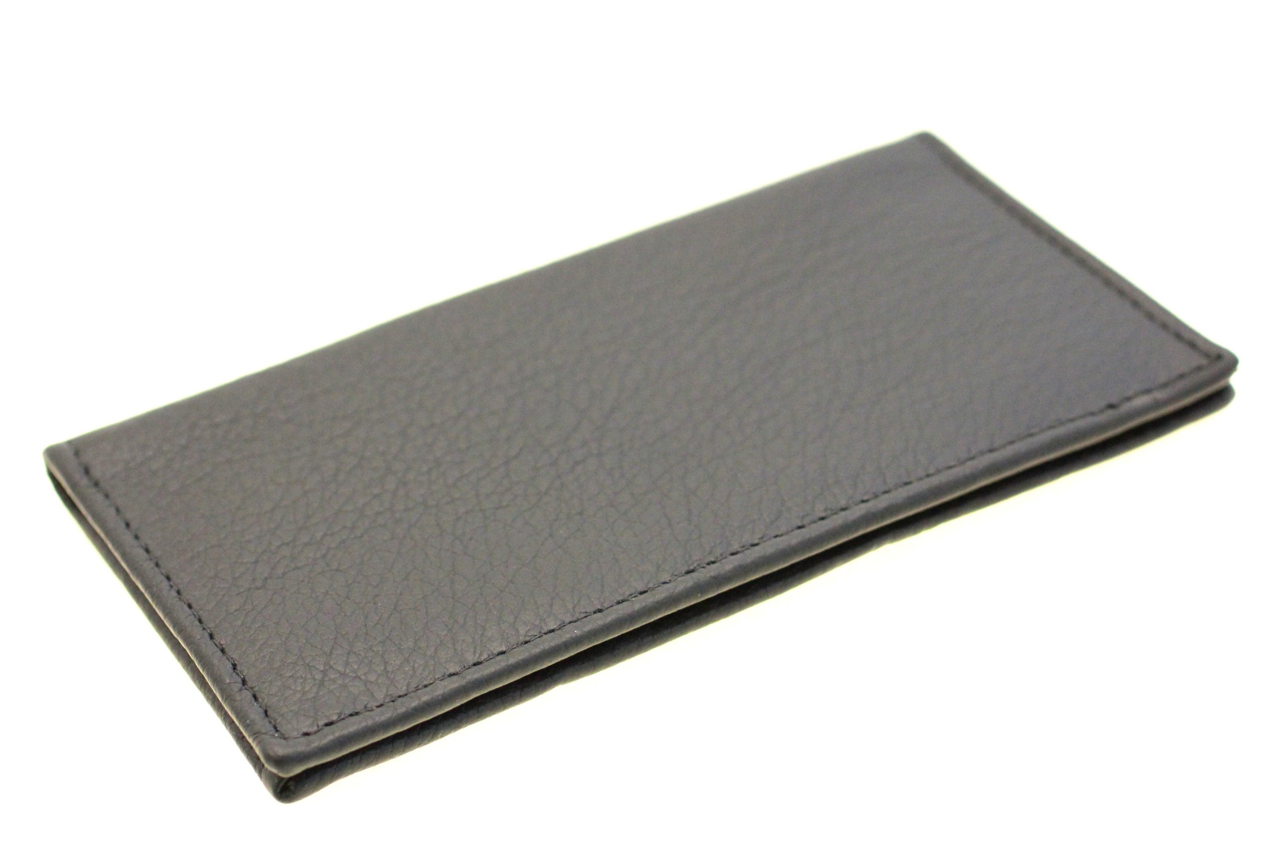 Men Or Women's Checkbook Cover Soft Top Grain Leather Made In USA Black