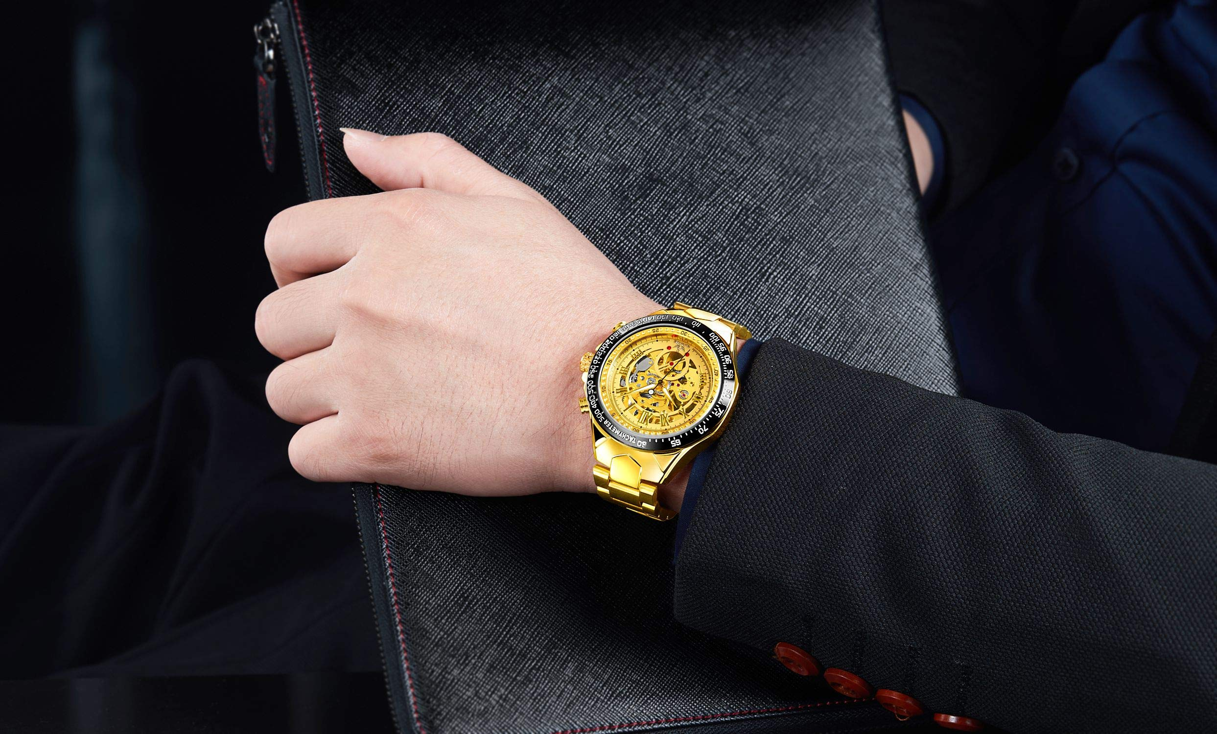 SEWOR Fashion Delicate Hollow Carving Mechanical Automatic Wrist Watch (Gold)