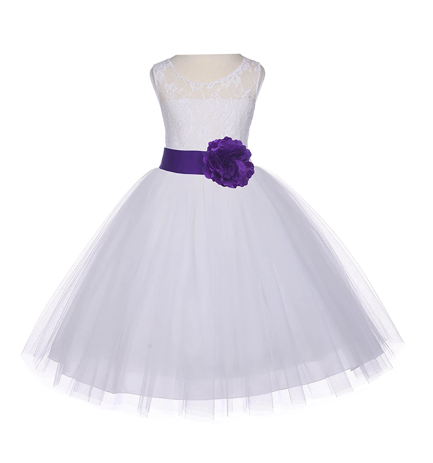 f339a3b82b8f Amazon.com: ekidsbridal Ivory Floral Lace Bodice Tulle Toddler Flower Girl Dresses  Tulle Dresses 153S: Clothing