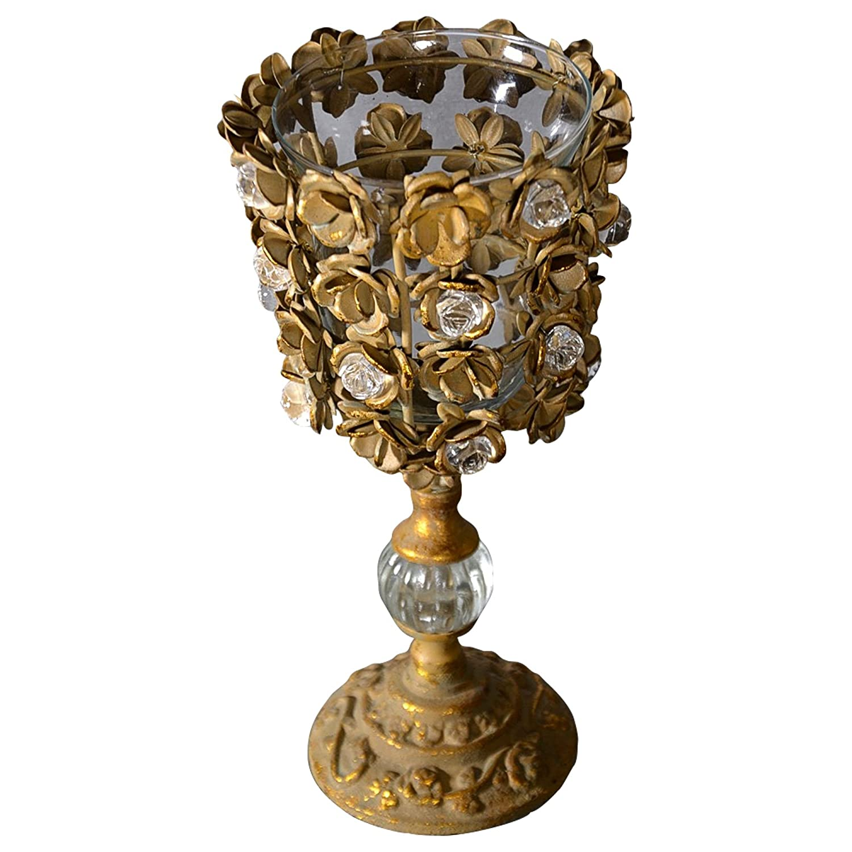 Antyki24 Prunkvas - Candelabro Vintage in Metallo Dorato per Matrimonio, con Cristalli anticati, 35 x 17 cm