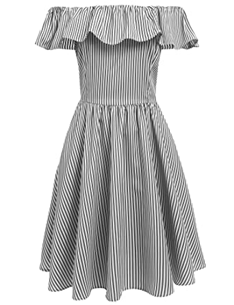 31ac8ef811e0 Meaneor Women s Casual Backless Off Shoulder Ruffle Striped Pleated Dress  at Amazon Women s Clothing store