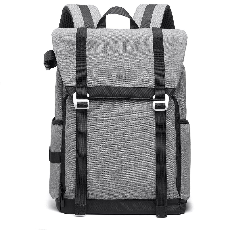 BAGSMART Large Camera Backpack Bag for SLR/DSLR Cameras & 15.6' Laptop with Waterproof Rain Cover & Tripod Holder, Dark Gray