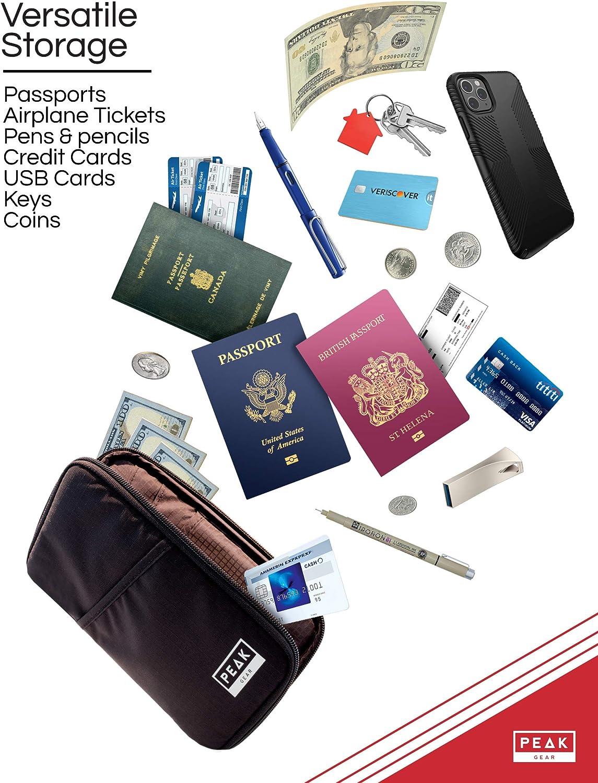 Travel Document Holder Case Includes Lifetime Lost /& Found Service Peak Gear RFID Passport Wallet