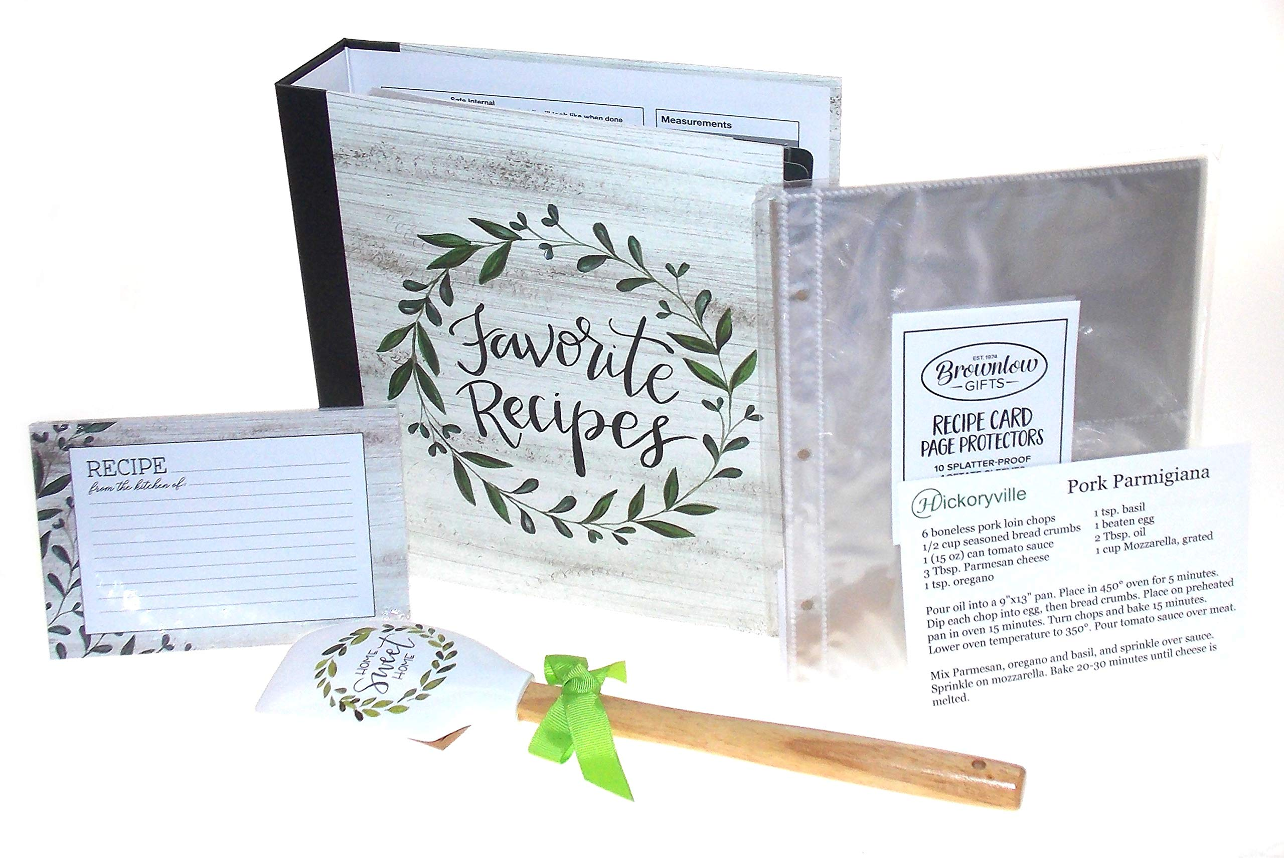 Recipe Book Bundle - Brownlow Vintage Green''Favorite Recipes'' Recipe Binder with 4 x 6 Recipe Cards, Tabbed Dividers, Extra Recipe Cards, Protector Pages, Spatula & 2 Bonus Recipes by Hickoryville by Hickoryville