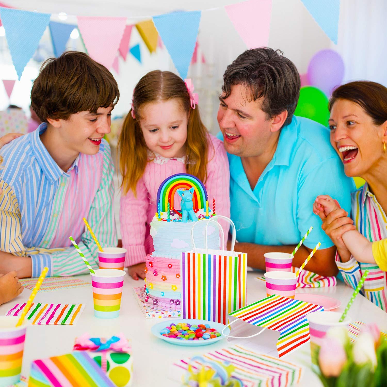 20 Pezzi Colore Arcobaleno Sacchetti di Carta Multicolore Borse Kraft a Righe Sacchetto per Dolciumi con Maniglia per Compleanno T/è Party Nozze Favori