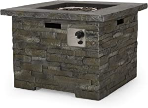 GDFStudio | Stonecrest | Outdoor Square Fire Pit, Natural Stone