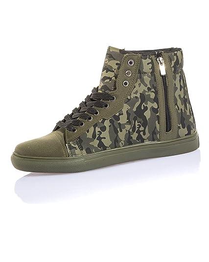 Zip Camouflage Jeans BLZ Homme Basket Kaki Montante avec Couleur dHdI0wpq