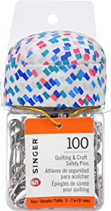 SINGER 2-Inch Basting Jar with Pin Cushion Lid, Multicolor 100 Count