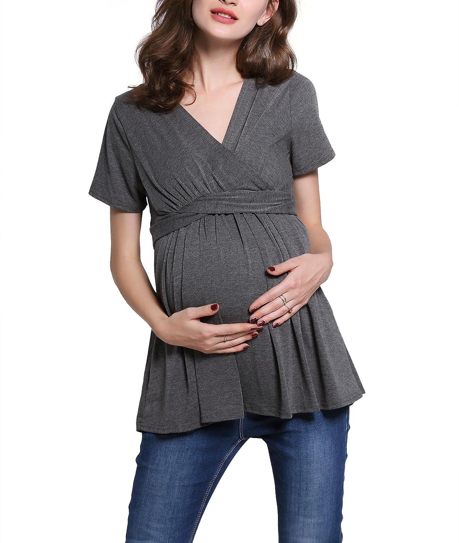 Dance Fairy Ropa de Maternidad Embarazada Camiseta Nursing Tops Camiseta de Manga Corta con Ola de Lactancia Materna Para Mamá