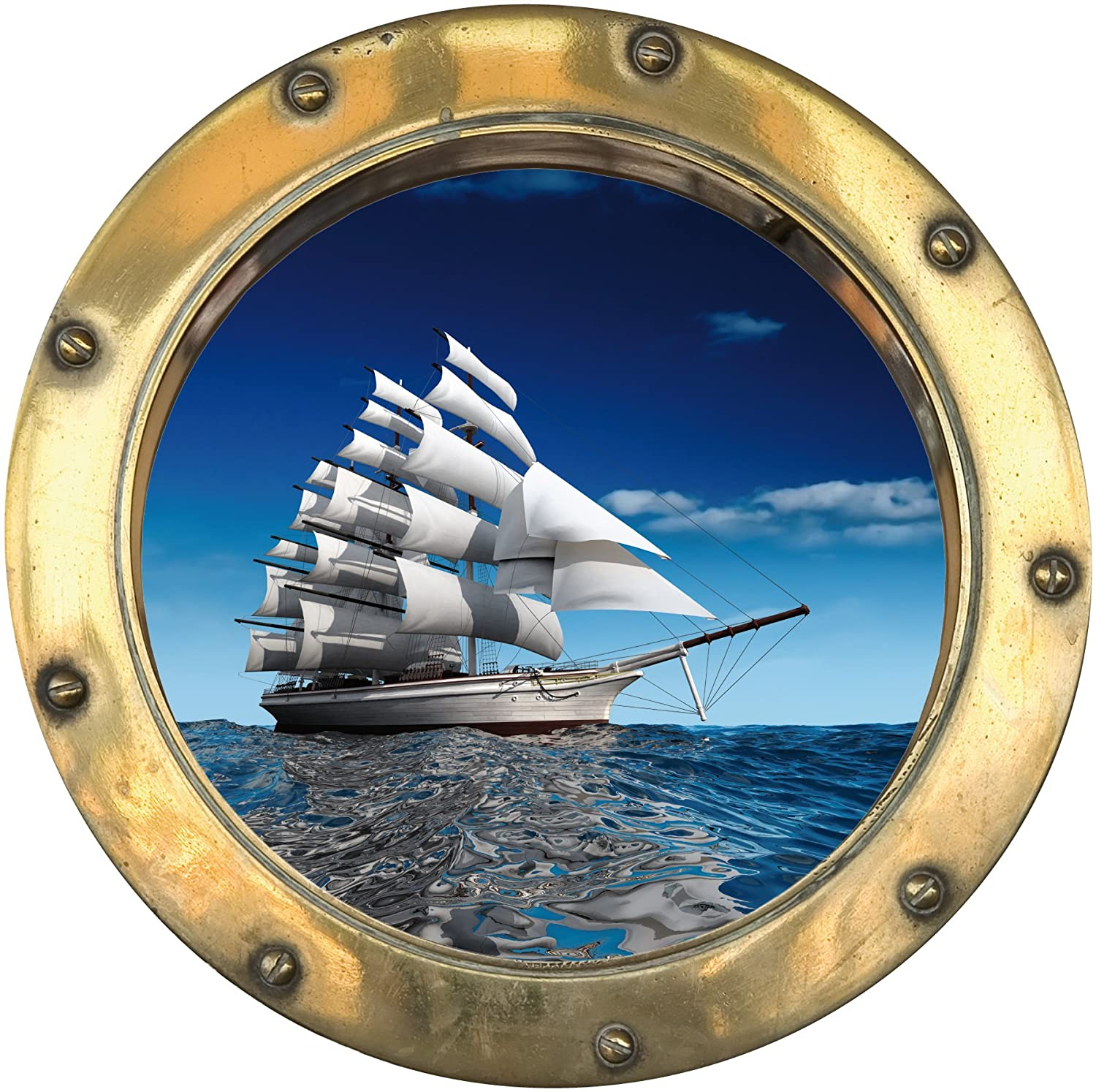 H303 wall sticker optical illusion porthole boat 30 x 30 cm amazon co uk kitchen home