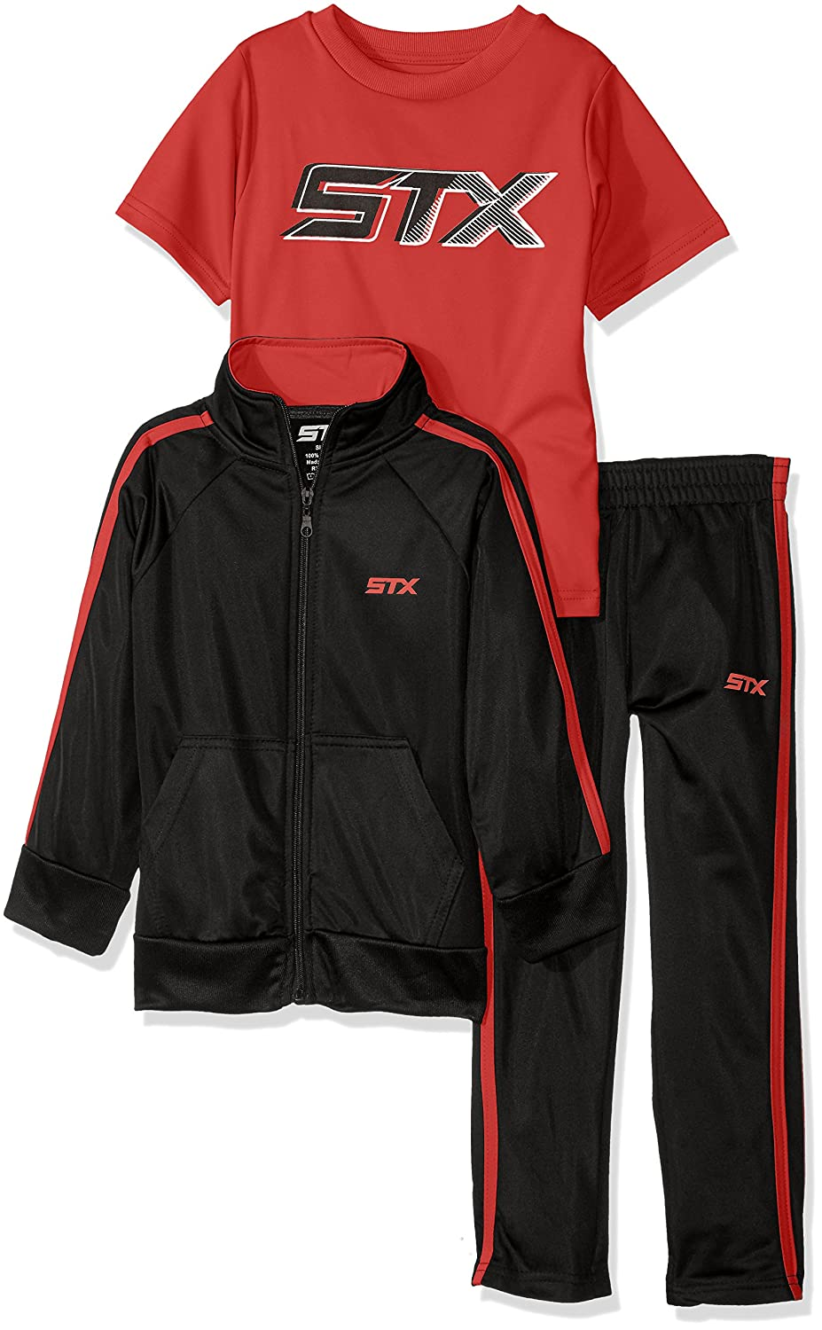STX Boys Tricot Jacket and Pant with Logo T-Shirt
