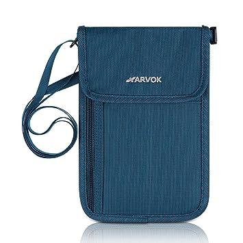 8a93fa928cd3c Arvok Brustbeutel RFID Blocking Reisepasshülle Organizer Brusttasche Etui  Tasche Schutzhülle Portemonnaie (Blau)