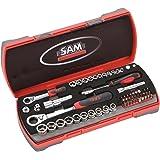 Sam Outillage CP-61Z Coffret de Cliquets/Douilles traversantes