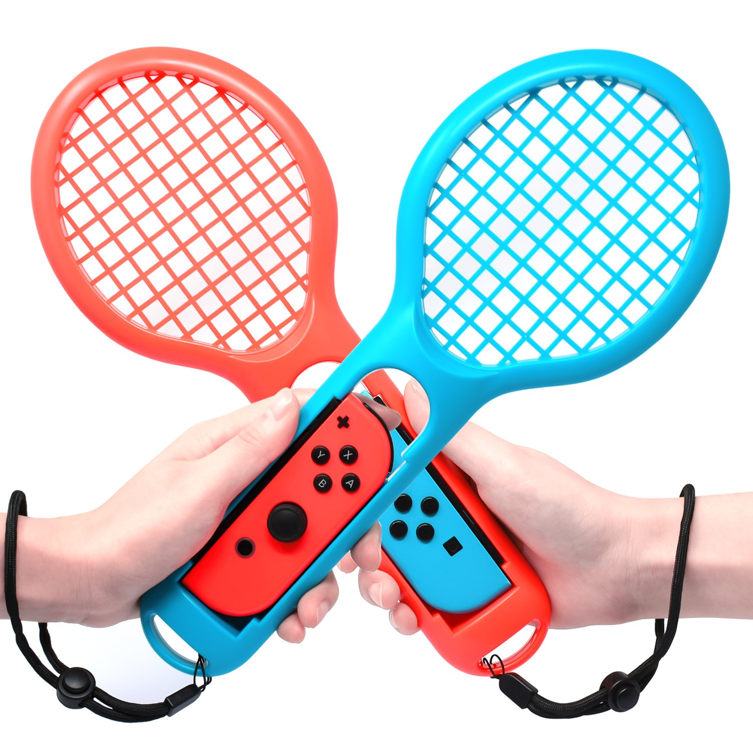 Tennis Racket for Nintendo Switch Joy-con Controllers, Twin Pack Tennis Racket for Mario Tennis Aces Game, Nintendo Switch Accessories (Blue and Red) by MENEEA