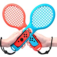 Tennis Racket for Joy Con, FYOUNG Somatosensory Joy Con Gaming Controller Grip Tennis Rackets for Mario Tennis Aces, Nintendo Switch Gameplay 2 Pack (Blue, Red)