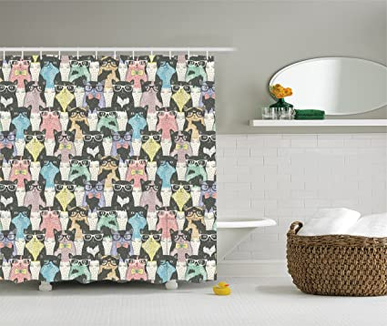 Ambesonne Cat Shower Curtain Funny Cartoon Decor For Kids By, Playful  Hipster And Cats With