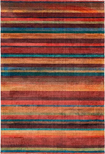 Decomall Edin Modern Contemporary Mosaic Geometric Striped Abstract Area Rug for Living Room Bedroom, 8×10 ft, Multi
