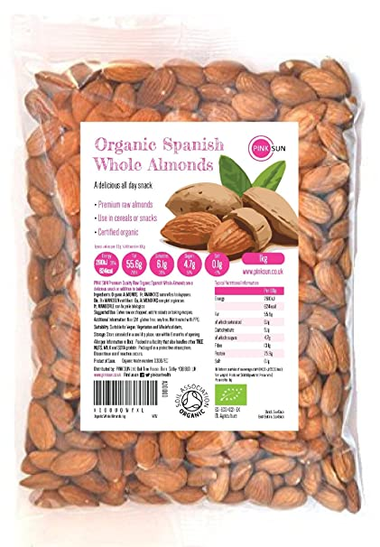 PINK SUN Almendras Enteras Orgánicas Crudas 1kg Bio Con Piel Español No tostado Sin Sal Natural