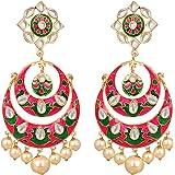 Sanjog Pink Meenakari Kundan Chandbali Earrings for Women