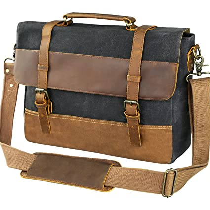 5a6deabd976 Image Unavailable. Image not available for. Color  WOWBOX 15.6 Inch  Messenger Bag for Mens Waxed Waterproof Canvas Genuine Leather Laptop  Messenger Bags Men