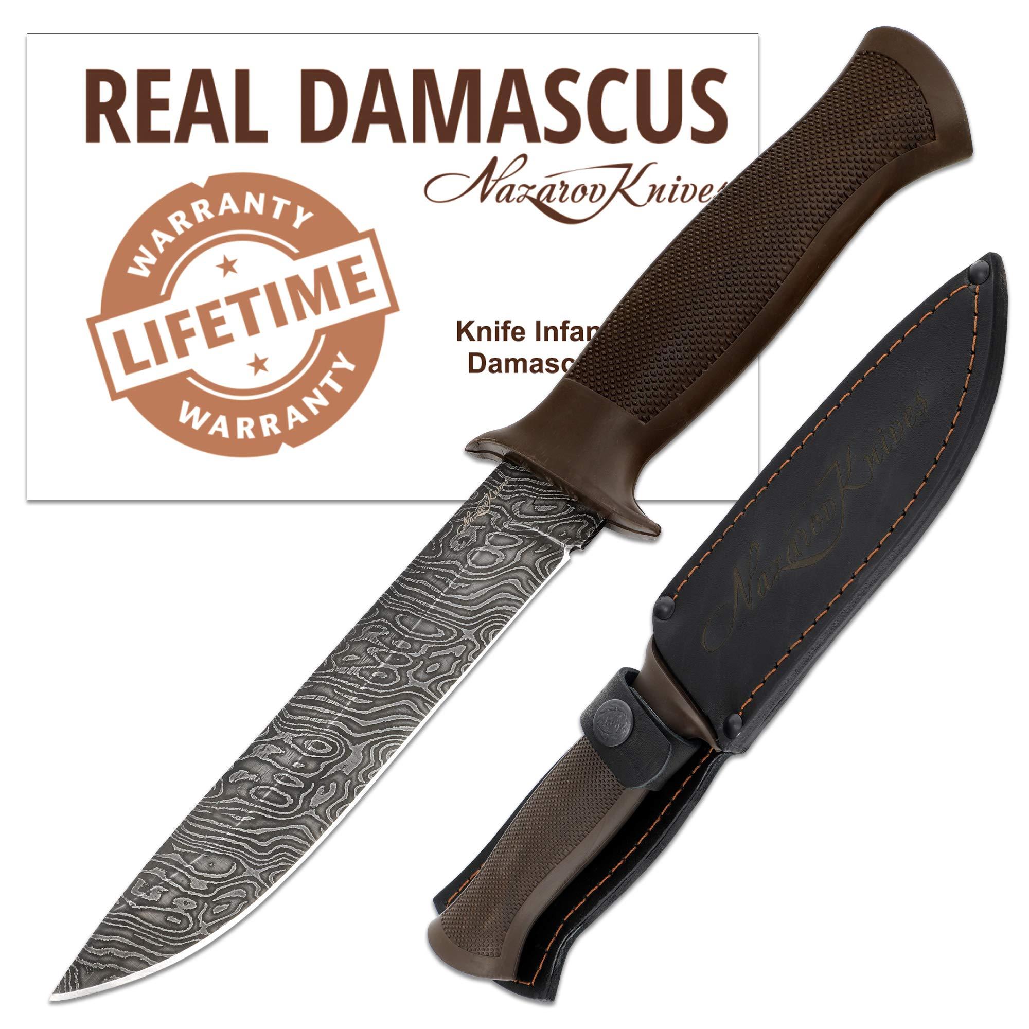 Hunting Knife - Damascus Knife - Secure Grip Rubber Handle - INFANTRYMAN Standard Edition - Leather Sheath