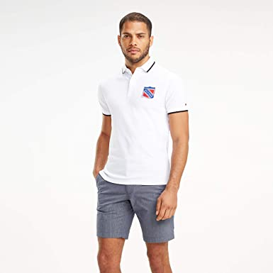 adbe7a7c05e74 Tommy Hilfiger Men s Jacquard Tipped Badge Slim Polo  Amazon.com ...