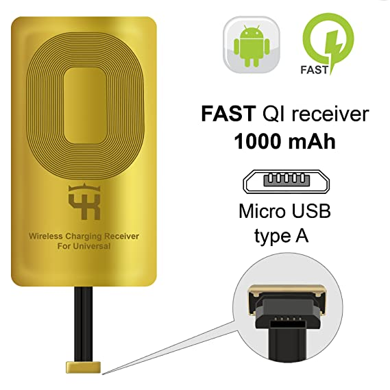 QI Receiver Type A for Samsung Galaxy J7 - J3-J6- S5 - LG V10 -LG Stylo 2-3  -Plus - QI Wireless Adapter– Wireless Charging Receiver- QI Receiver