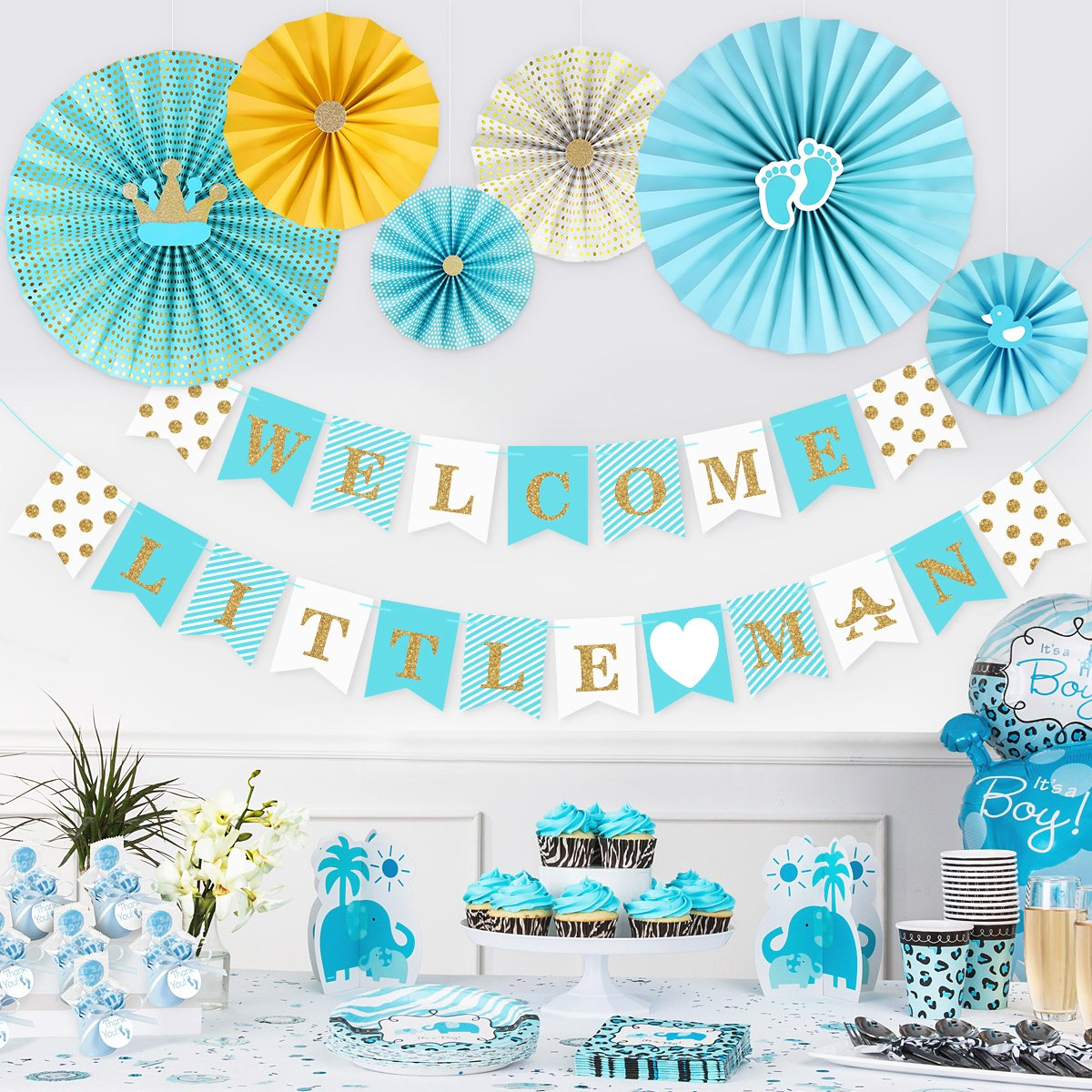 Unomor Baby Shower Decorations for Boys, Boy Baby Shower Decorations Sets Blue-Includes''WELCOME LITTLE MAN'' Glittering Letter Banner and 6 Styles Paper Fans Including Duck Dot Crown Footprint