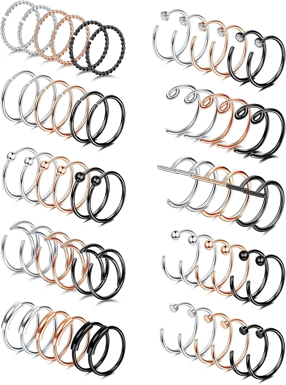 ORAZIO 30 PCS 20G Stainless Steel Nose Rings Hoop Piercing Set Tragus Cartilage Nose Ring Labret Nose Piercing Jewelry for Men Women
