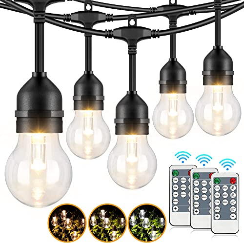 96FT 3-Color in 1 Outdoor LED String Lights for Patio with Remotes, 2-Pack 48FT Dimmable LED Edison String Light, Warm Daylight White Shatterproof Waterproof Bistro Hanging Lights for Backyard Pergola