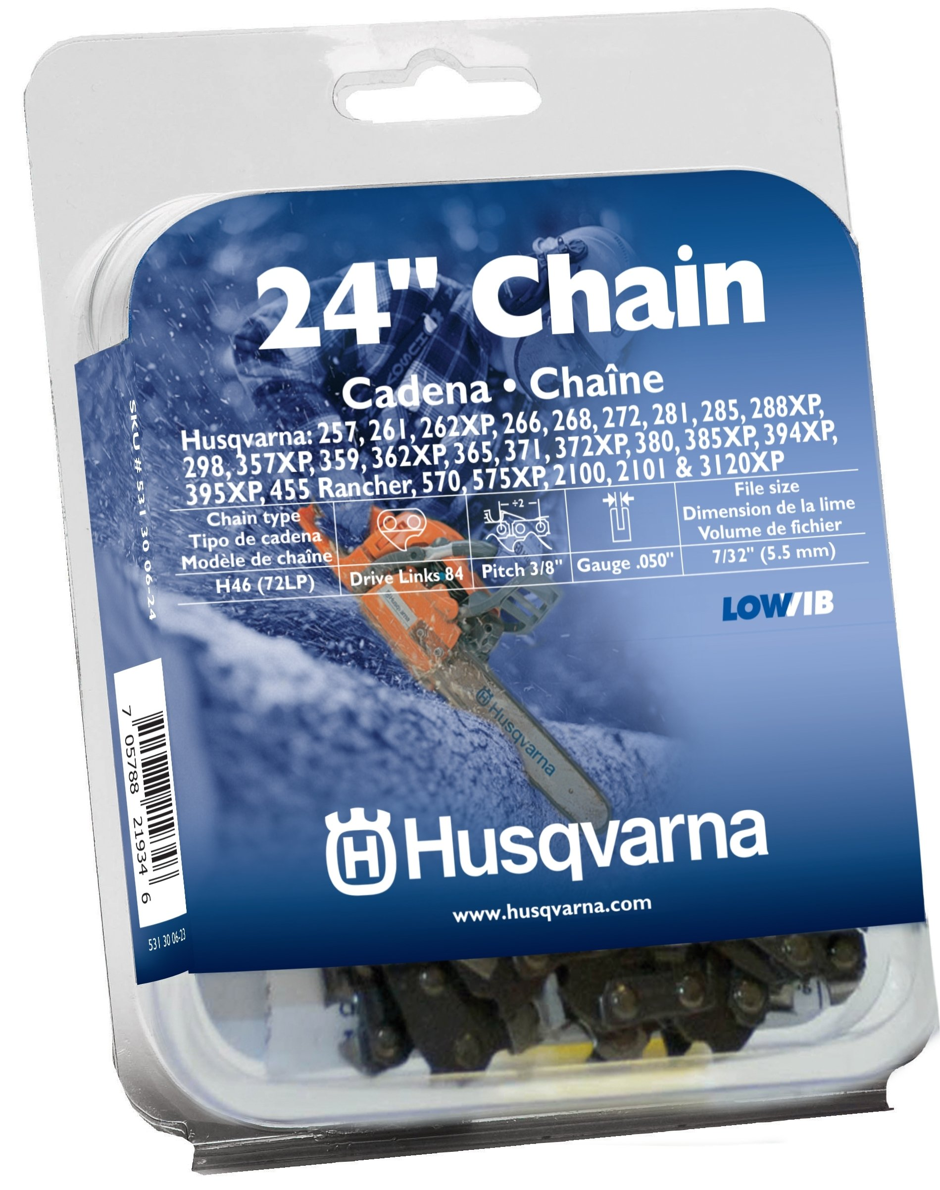 Husqvarna 24 Inch Chainsaw Chain H4684 531300624 (0.375 Inch Pitch .050 Inch Gauge) by Husqvarna
