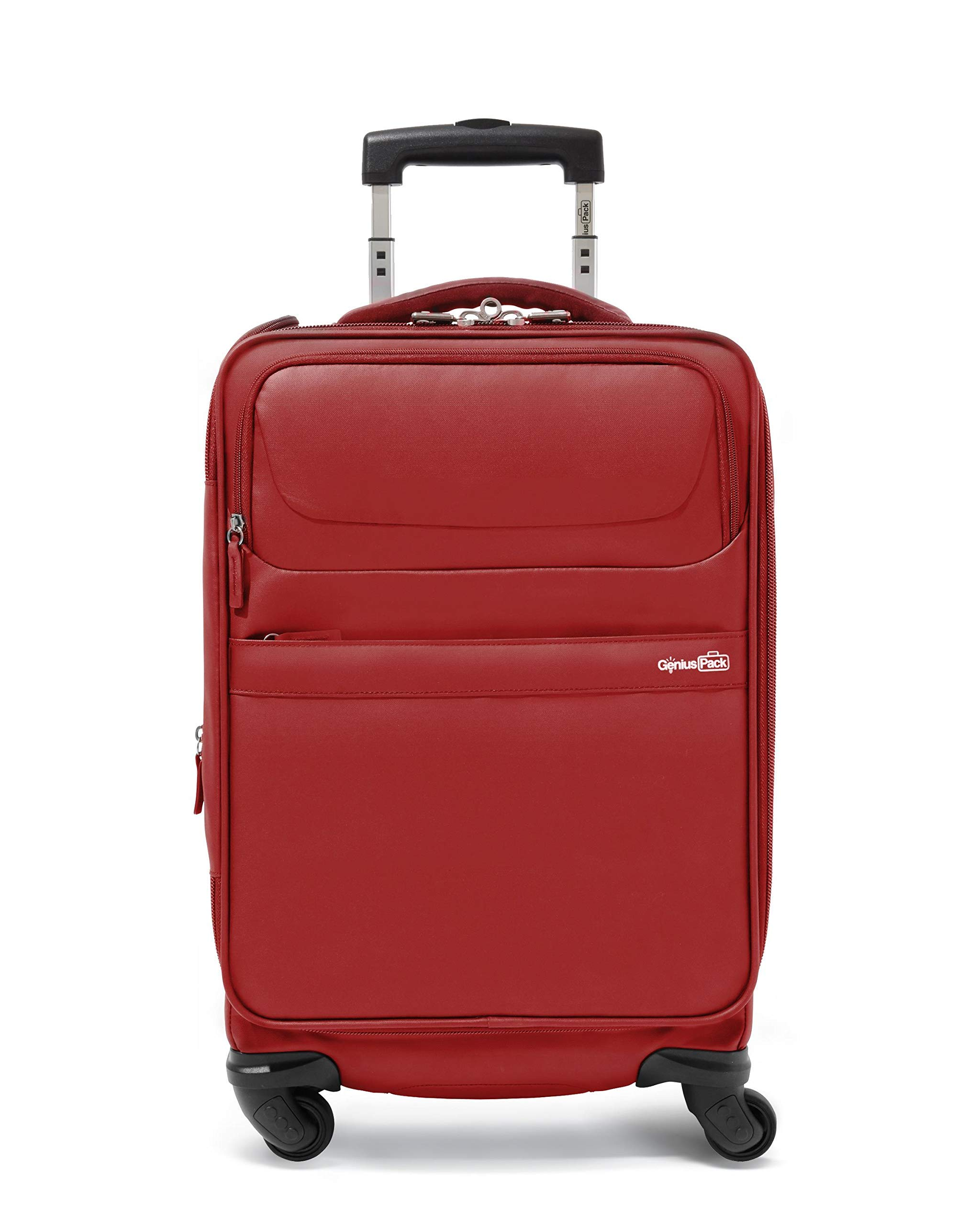 Genius Pack G4 22'' Carry On Spinner Luggage - Smart, Organized, Lightweight Suitcase (G4 - Red)