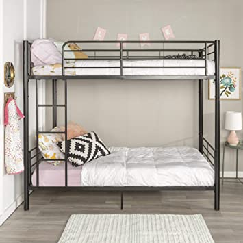 Amazon Com Home Accent Furnishings Sunrise Metal Twin Over Twin Bunk Bed In Black Furniture Decor