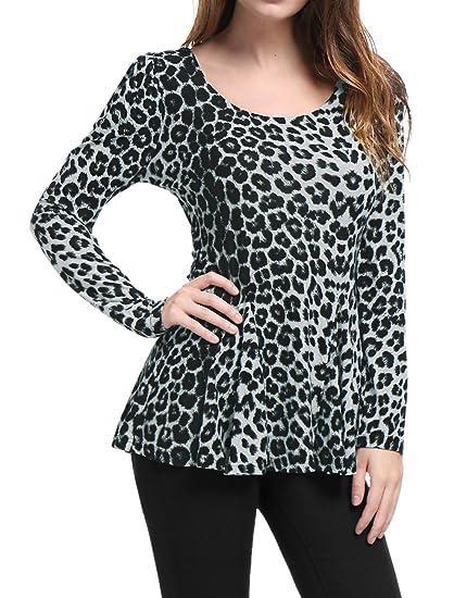 95acc74f0a4d0a Allegra K Women's Long Sleeves Scoop Neck Leopard Prints Peplum Shirt Grey  XS (US 2