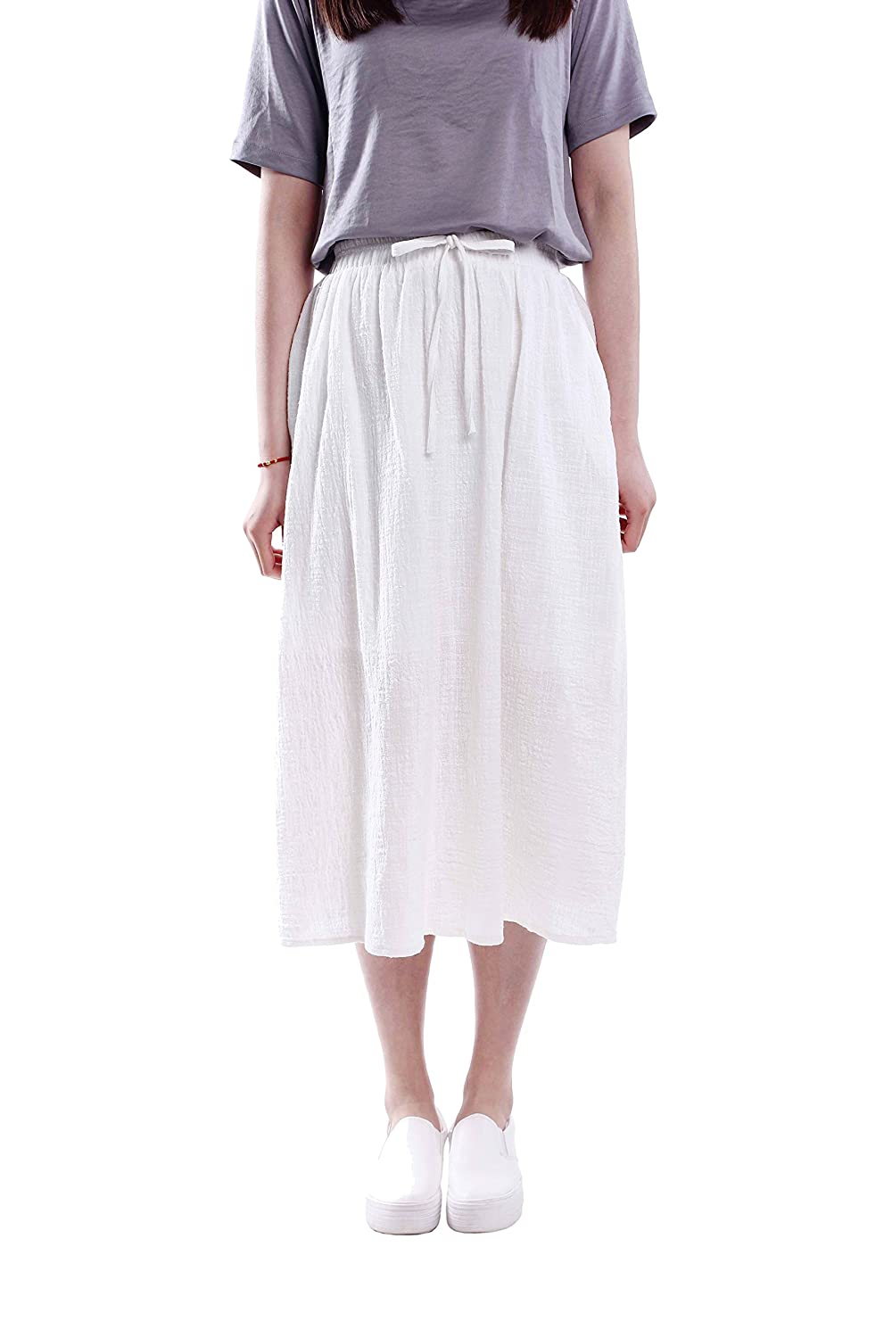 Purpura Erizo Womens Light Drawstring Slub Linen Pintuck Mid Skirt