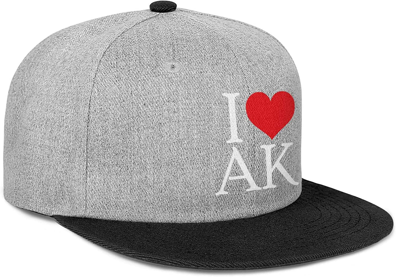 Mens Womens Trucker Hat I Love AK Alaska2 Snapback Casual Caps